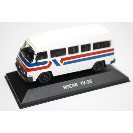 Altaya Rocar TV-35 Bus 1983 - White with Red and Blue Stripes