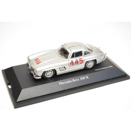 Schuco Mercedes-Benz 300 SL Coupé W198 #445 Mille Miglia 1955 - Silver Metallic