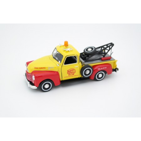 "Cararama Chevrolet 3100 Pickup Tow Truck ""Shell"" 1950 - Yellow/Red"