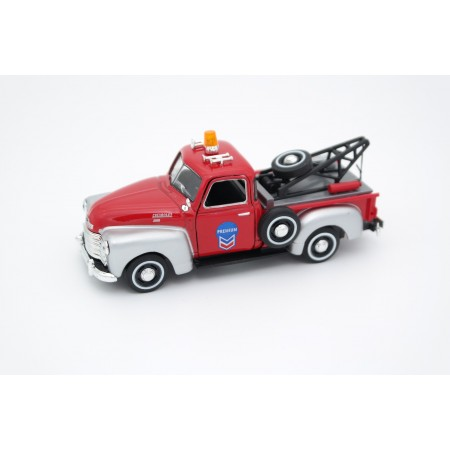 "Cararama Chevrolet 3100 Pickup Tow Truck ""Chevron"" 1950 - Red/Silver"