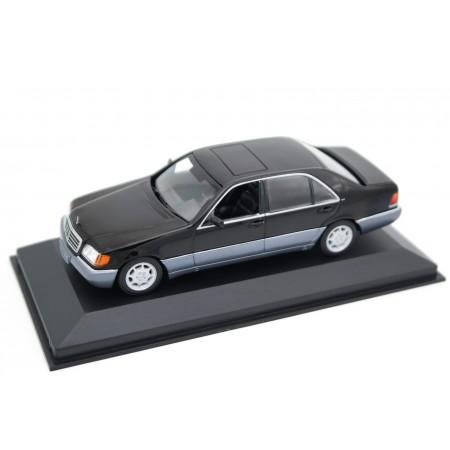 Maxichamps Mercedes-Benz 600 SEL V12 LWB W140 V140 1991 - Obsidian Black Metallic/Silver Blue Metallic