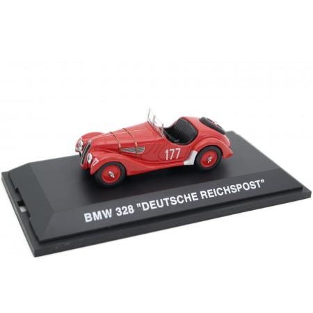 """Schuco BMW 328 Roadster #177 """"Deutsche Reichspost"""" Deutschen Alpenfahrt 1938 - A.Quandt/J.Markschläger"""
