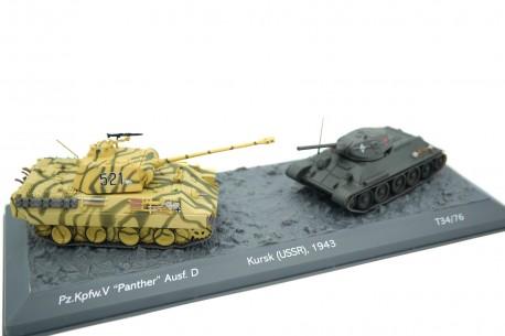 Altaya Pz.Kpfw. V Panther Ausf. D vs T34/76 - Kursk, USSR 1944 - Camouflage/Green, World of Tanks