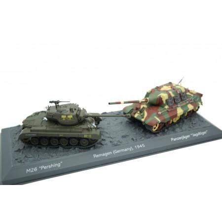 Altaya M26 Pershing vs Panzerjäger Jagtiger Ausf. B - Remagen, Germany 1945 - Green/Camouflage, World of Tanks