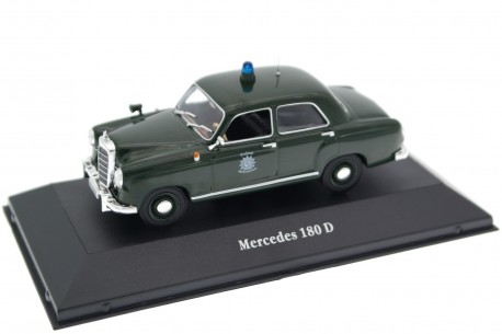 1/43 Atlas 7598002 Mercedes-Benz 180 D Ponton Polizei W120 1953 - Dark Green, Police Cars Collection #2