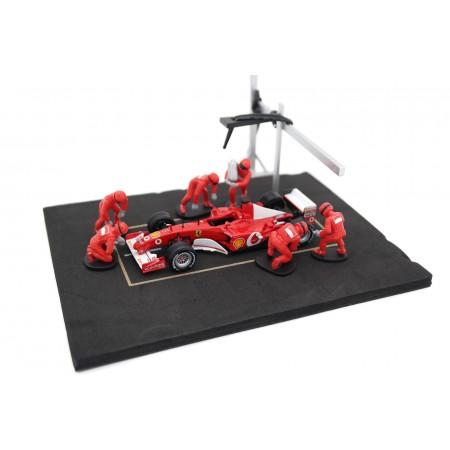 IXO Diorama Set Pit Stop Ferrari, 6 figures in a set - Red