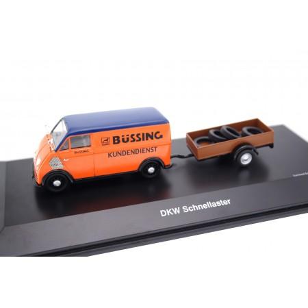 Schuco DKW Schnellaster Büssing Kundendienst with Trailer 1954 - Orange/Blue