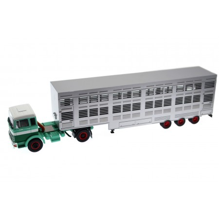 IXO Mercedes-Benz LPS 1632 Livestock Transporter 1970 - Turquoise/Green/White/Silver